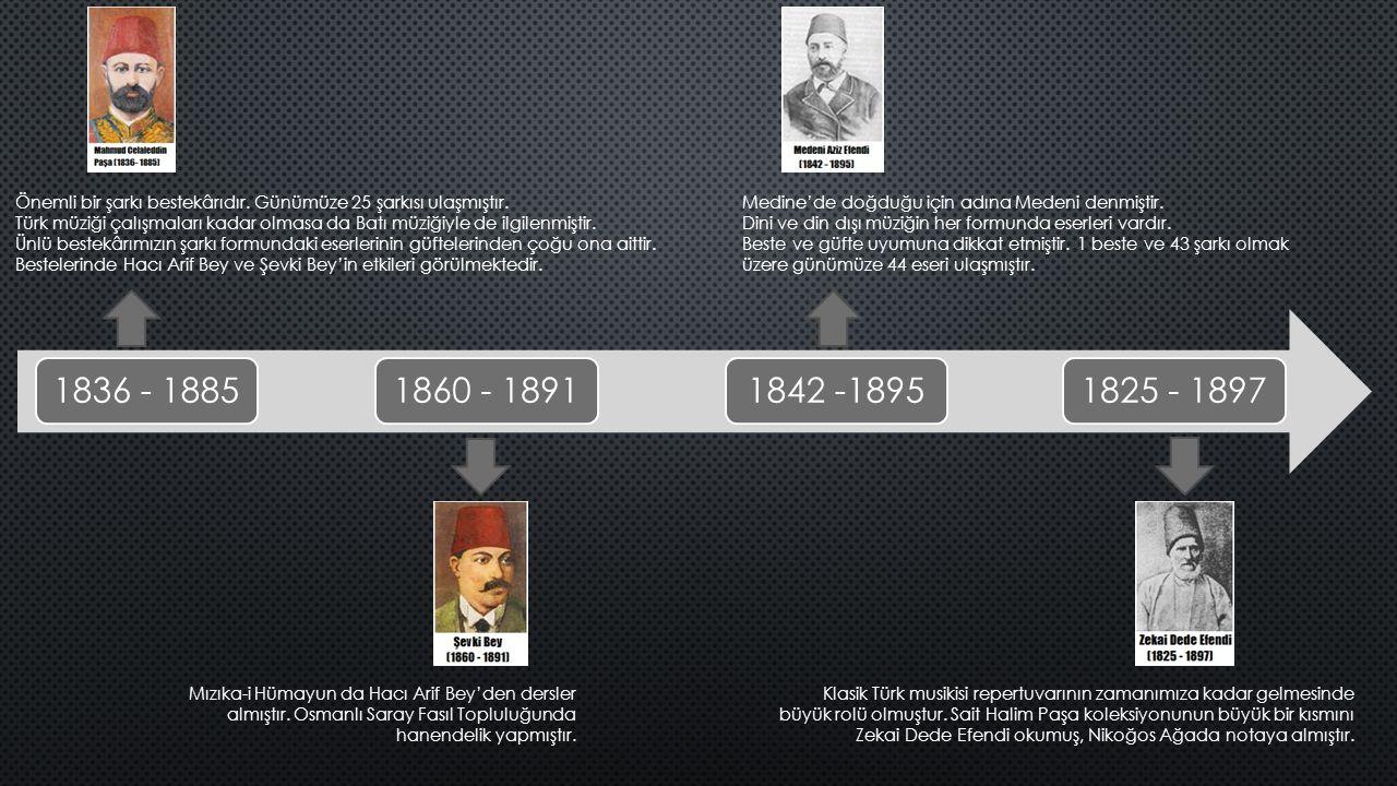 1836 - 18851860 - 18911842 -18951825 - 1897 Önemli bir şarkı bestekârıdır. Günümüze 25 şarkısı ulaşmıştır. Türk müziği çalışmaları kadar olmasa da Bat