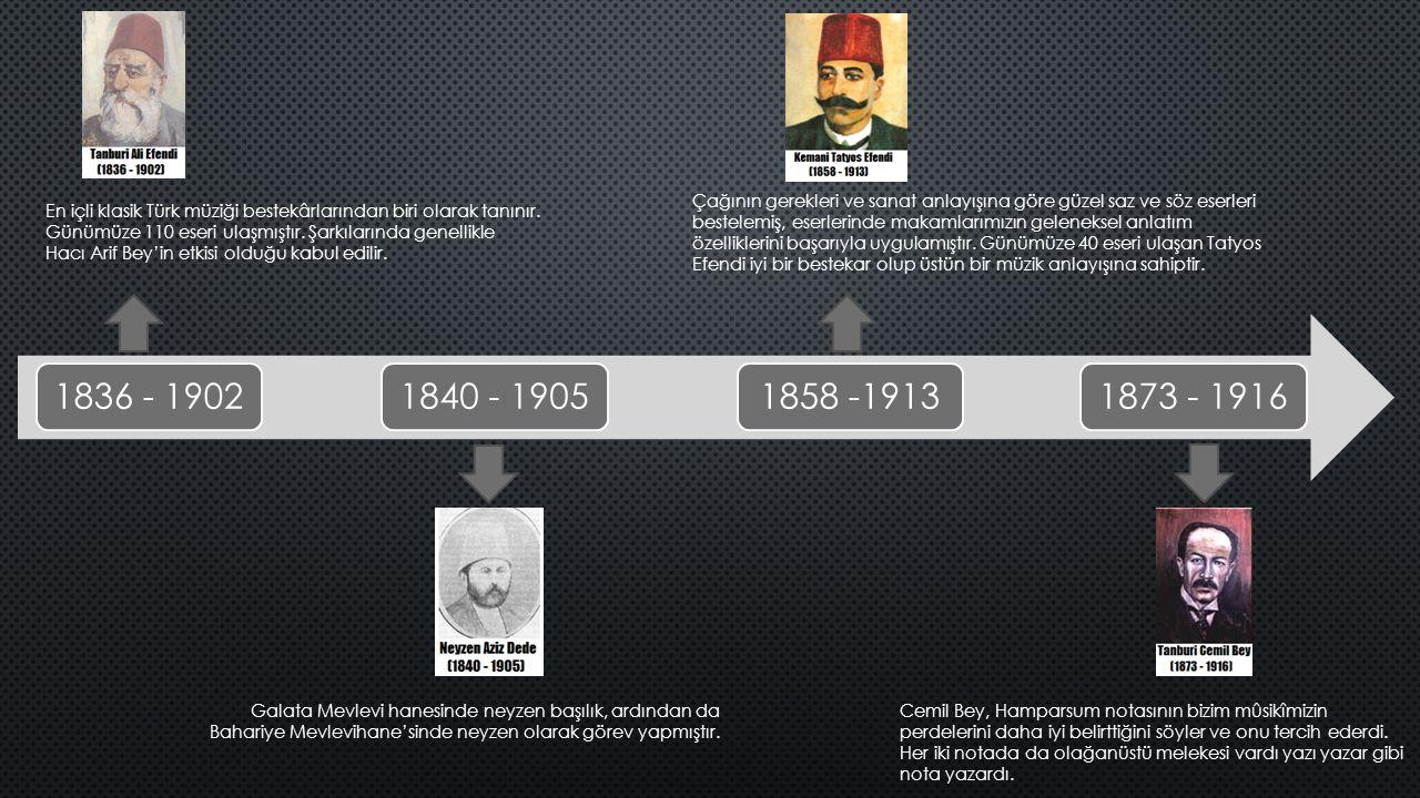 1836 - 19021840 - 19051858 -19131873 - 1916 En içli klasik Türk müziği bestekârlarından biri olarak tanınır. Günümüze 110 eseri ulaşmıştır. Şarkıların