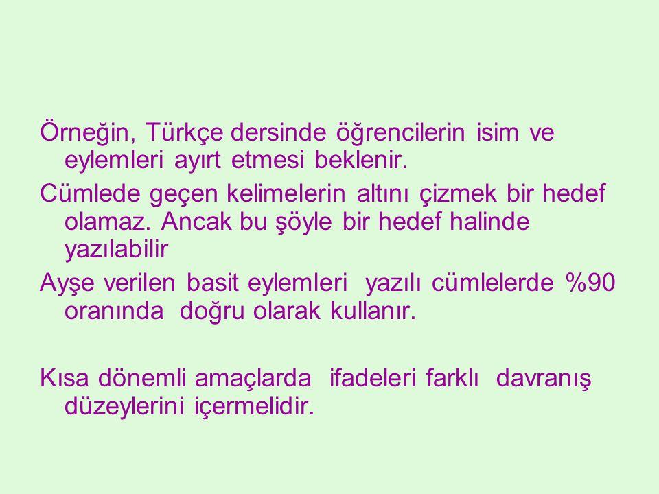Örneğin, Türkçe dersinde öğrencilerin isim ve eylemleri ayırt etmesi beklenir. Cümlede geçen kelimelerin altını çizmek bir hedef olamaz. Ancak bu şöyl
