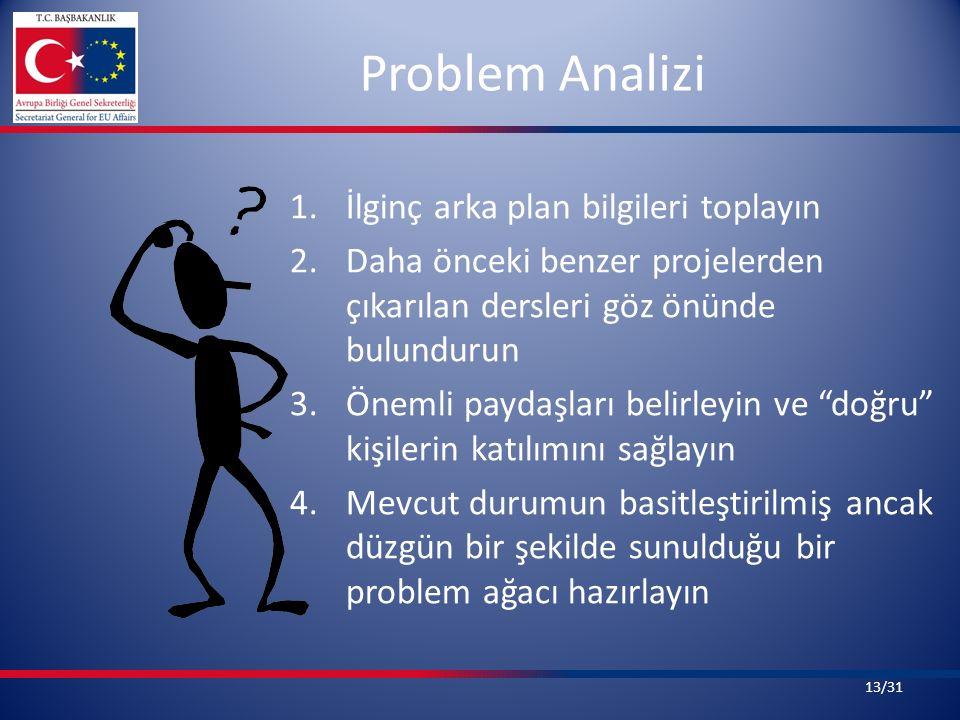 Problem Analizi 1.İlginç arka plan bilgileri toplayın 2.Daha önceki benzer projelerden çıkarılan dersleri göz önünde bulundurun 3.Önemli paydaşları belirleyin ve doğru kişilerin katılımını sağlayın 4.Mevcut durumun basitleştirilmiş ancak düzgün bir şekilde sunulduğu bir problem ağacı hazırlayın 13/31
