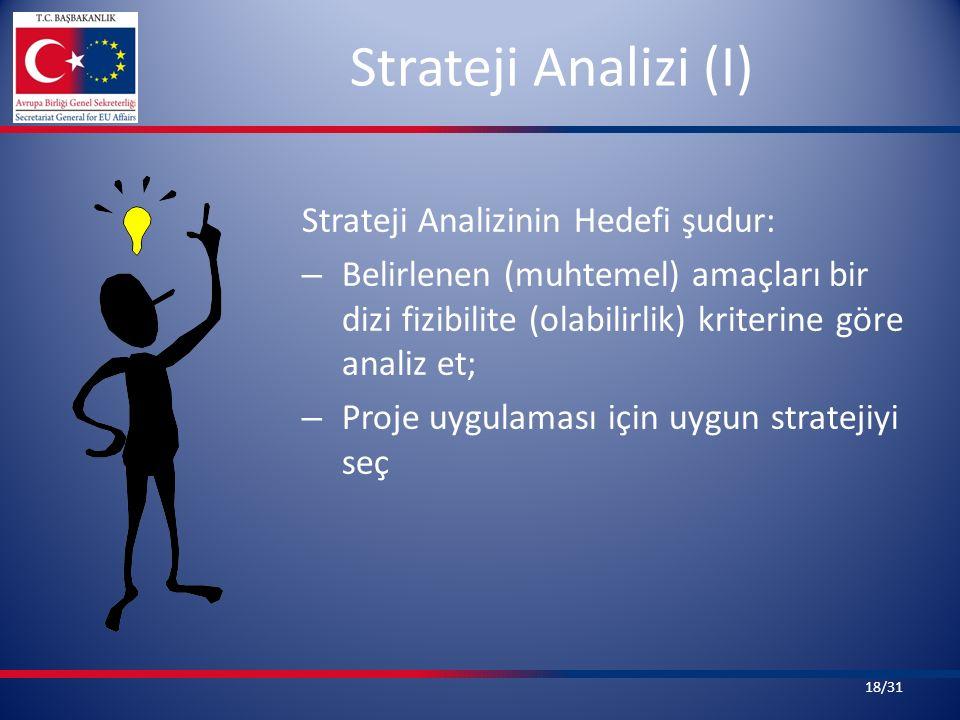 Strateji Analizi (I) Strateji Analizinin Hedefi şudur: – Belirlenen (muhtemel) amaçları bir dizi fizibilite (olabilirlik) kriterine göre analiz et; – Proje uygulaması için uygun stratejiyi seç 18/31