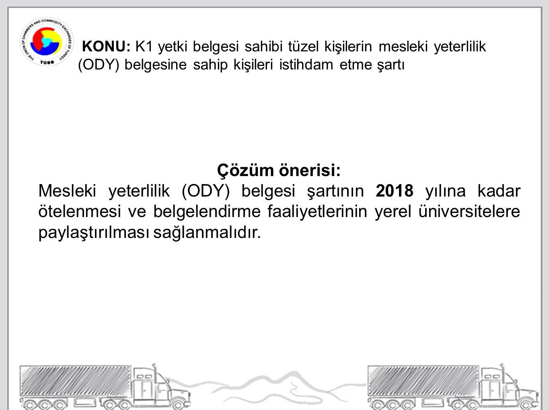 KONU: K1 yetki belgesi sahibi tüzel kişilerin mesleki yeterlilik (ODY) belgesine sahip kişileri istihdam etme şartı Çözüm önerisi: Mesleki yeterlilik (ODY) belgesi şartının 2018 yılına kadar ötelenmesi ve belgelendirme faaliyetlerinin yerel üniversitelere paylaştırılması sağlanmalıdır.