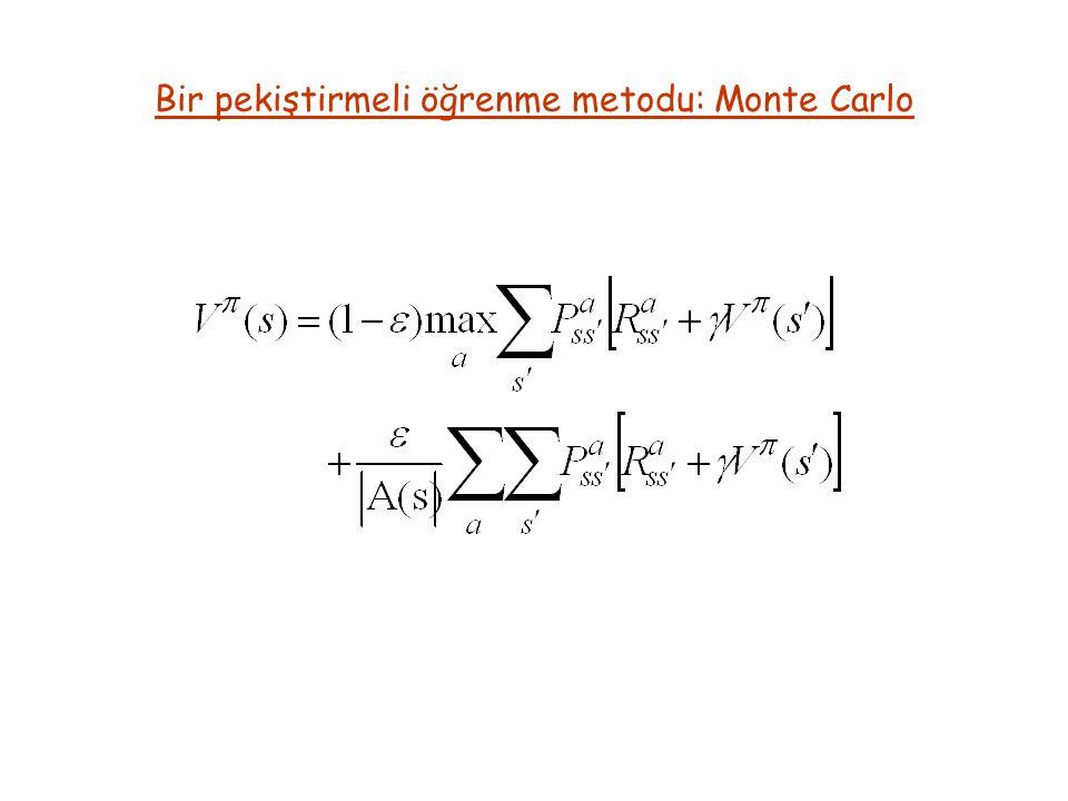 Bir pekiştirmeli öğrenme metodu: Monte Carlo