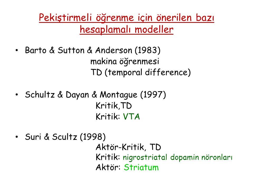 Pekiştirmeli öğrenme için önerilen bazı hesaplamalı modeller Barto & Sutton & Anderson (1983) makina öğrenmesi TD (temporal difference) Schultz & Dayan & Montague (1997) Kritik,TD Kritik: VTA Suri & Scultz (1998) Aktör-Kritik, TD Kritik: nigrostriatal dopamin nöronları Aktör: Striatum