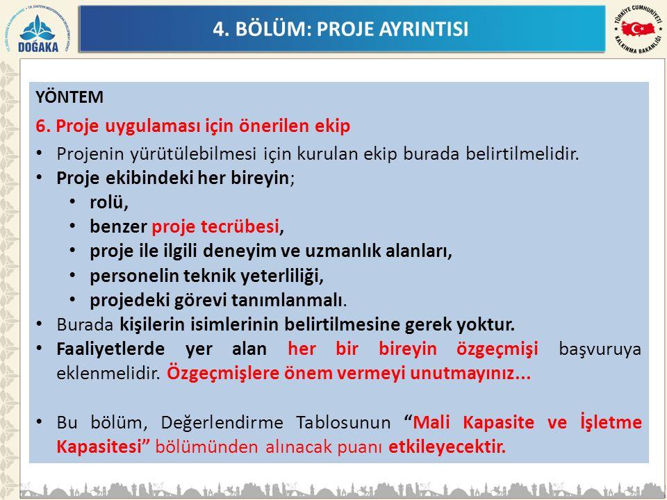 4. BÖLÜM: PROJE AYRINTISI YÖNTEM 6.