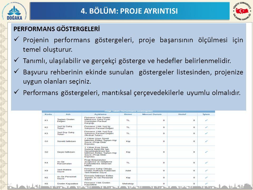 4. BÖLÜM: PROJE AYRINTISI PERFORMANS GÖSTERGELERİ Projenin performans göstergeleri, proje başarısının ölçülmesi için temel oluşturur. Tanımlı, ulaşıla
