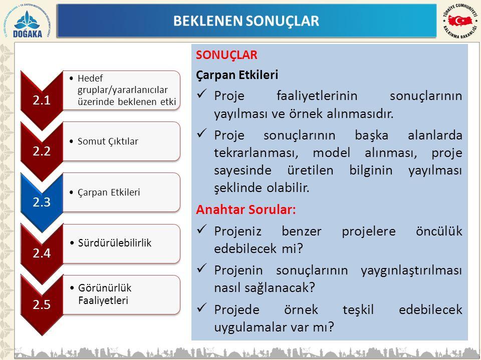 BEKLENEN SONUÇLAR SONUÇLAR Çarpan Etkileri Proje faaliyetlerinin sonuçlarının yayılması ve örnek alınmasıdır.