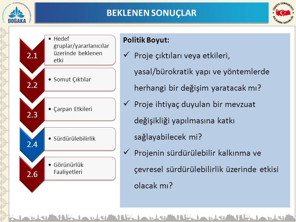 BEKLENEN SONUÇLAR Politik Boyut: Proje çıktıları veya etkileri, yasal/bürokratik yapı ve yöntemlerde herhangi bir değişim yaratacak mı.