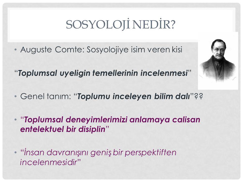 SOSYOLOJİ NEDİR.