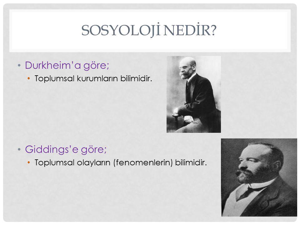 SOSYOLOJİ NEDİR.Durkheim'a göre; Toplumsal kurumların bilimidir.