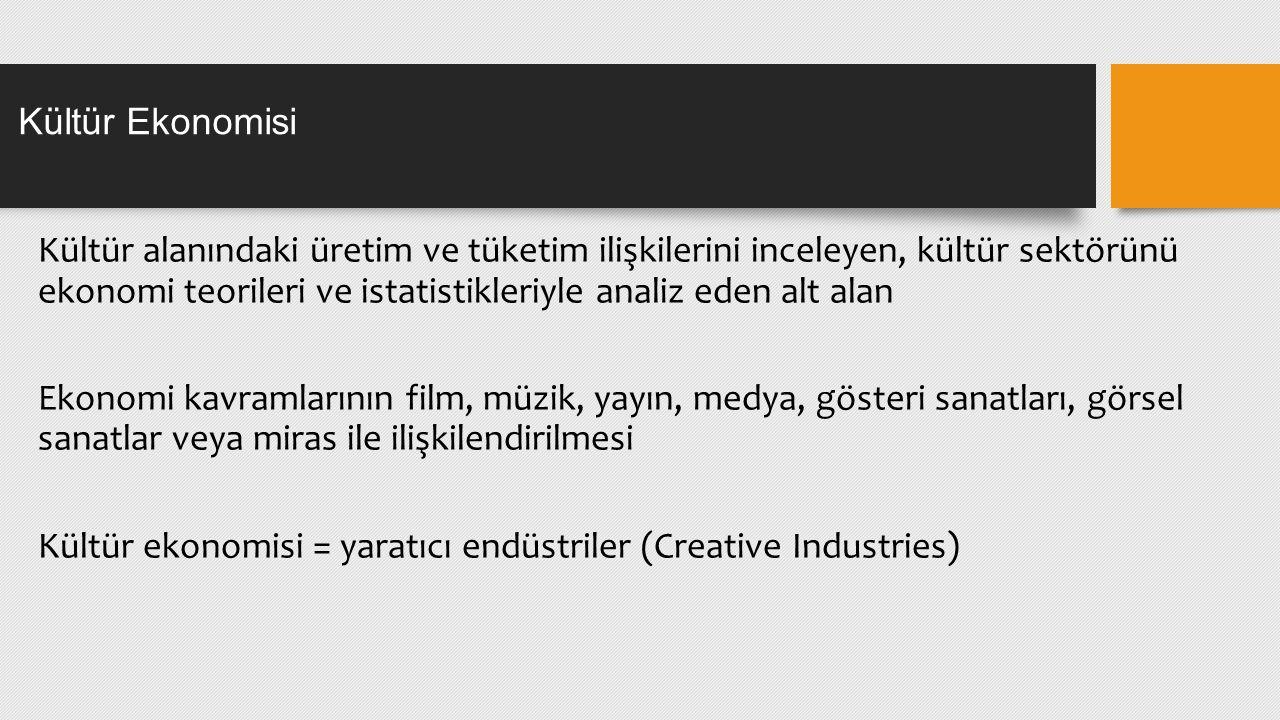 Ticari anlayış Somut olmayan kültürel içeriğin yaratımı, üretimi ve ticari amaçlarla kullanımı Yaratıcı endüstrilerin kategorizasyonu Birleşmiş Milletler Ticaret ve Kalkınma Örgütü (UNCTAD) 4 kategori ve 9 altalan Kültür Ekonomisi