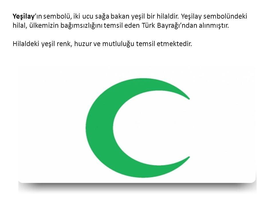 Yeşilay'ın sembolü, iki ucu sağa bakan yeşil bir hilaldir.