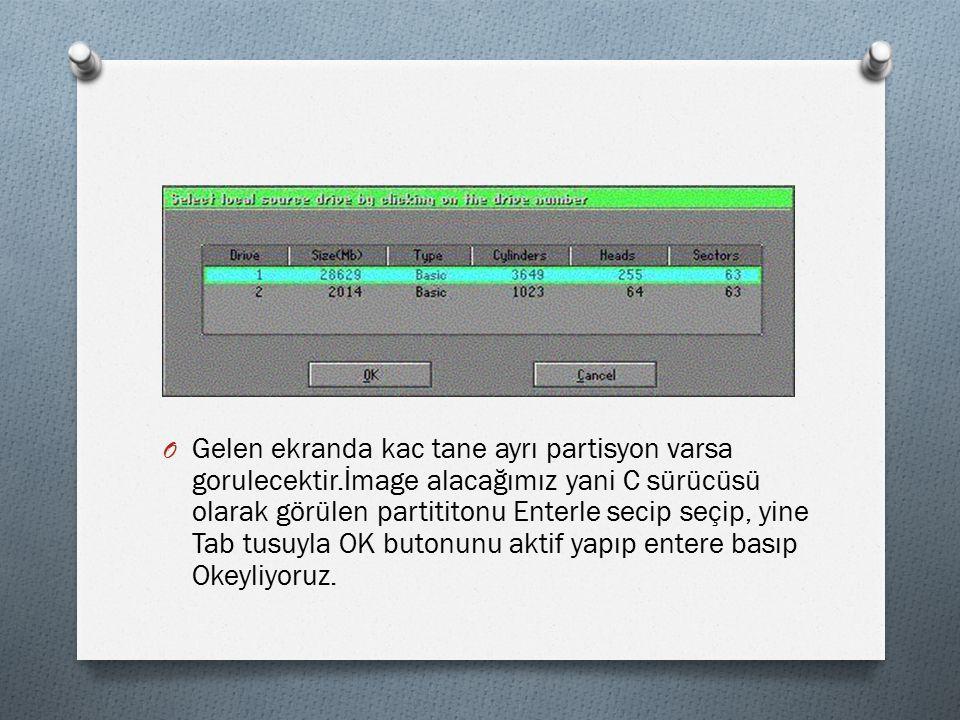 O Gelen ekranda kac tane ayrı partisyon varsa gorulecektir.İmage alacağımız yani C sürücüsü olarak görülen partititonu Enterle secip seçip, yine Tab tusuyla OK butonunu aktif yapıp entere basıp Okeyliyoruz.