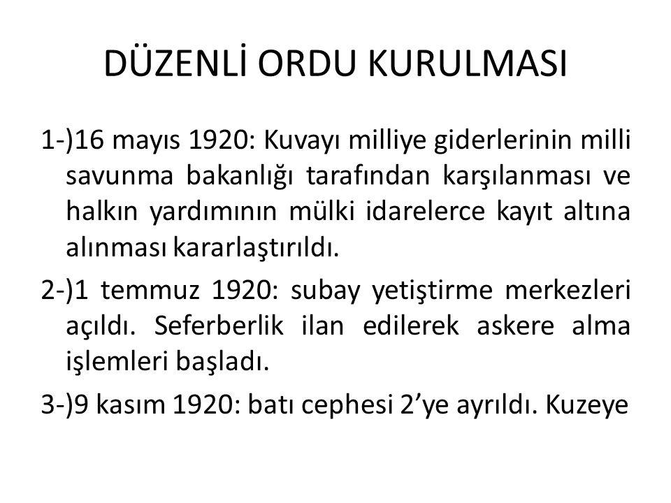 DÜZENLİ ORDU KURULMASI 1-)16 mayıs 1920: Kuvayı milliye giderlerinin milli savunma bakanlığı tarafından karşılanması ve halkın yardımının mülki idarelerce kayıt altına alınması kararlaştırıldı.