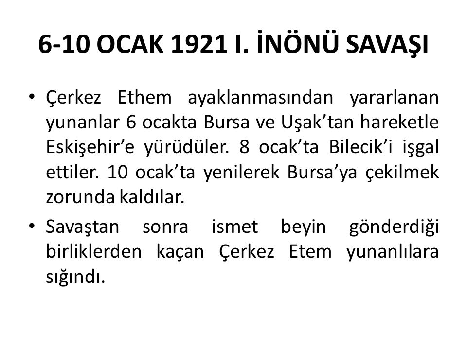 6-10 OCAK 1921 I.