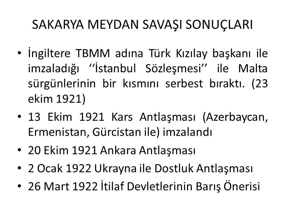 SAKARYA MEYDAN SAVAŞI SONUÇLARI İngiltere TBMM adına Türk Kızılay başkanı ile imzaladığı ''İstanbul Sözleşmesi'' ile Malta sürgünlerinin bir kısmını serbest bıraktı.