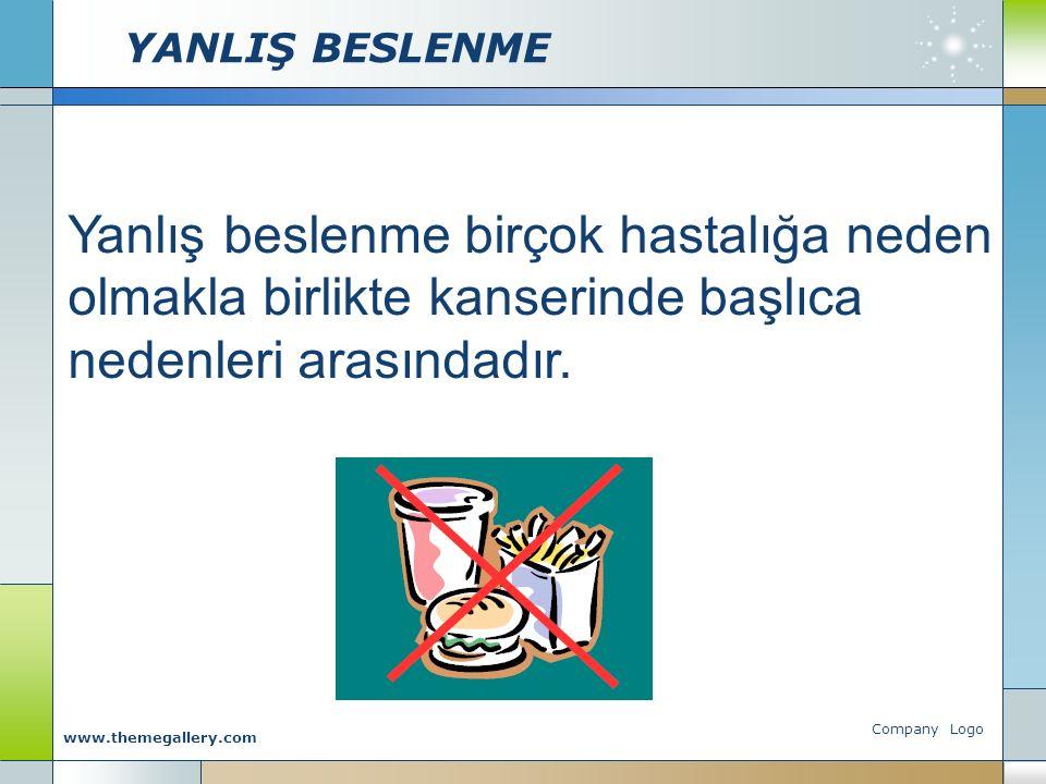YANLIŞ BESLENME Company Logo www.themegallery.com Yanlış beslenme birçok hastalığa neden olmakla birlikte kanserinde başlıca nedenleri arasındadır.