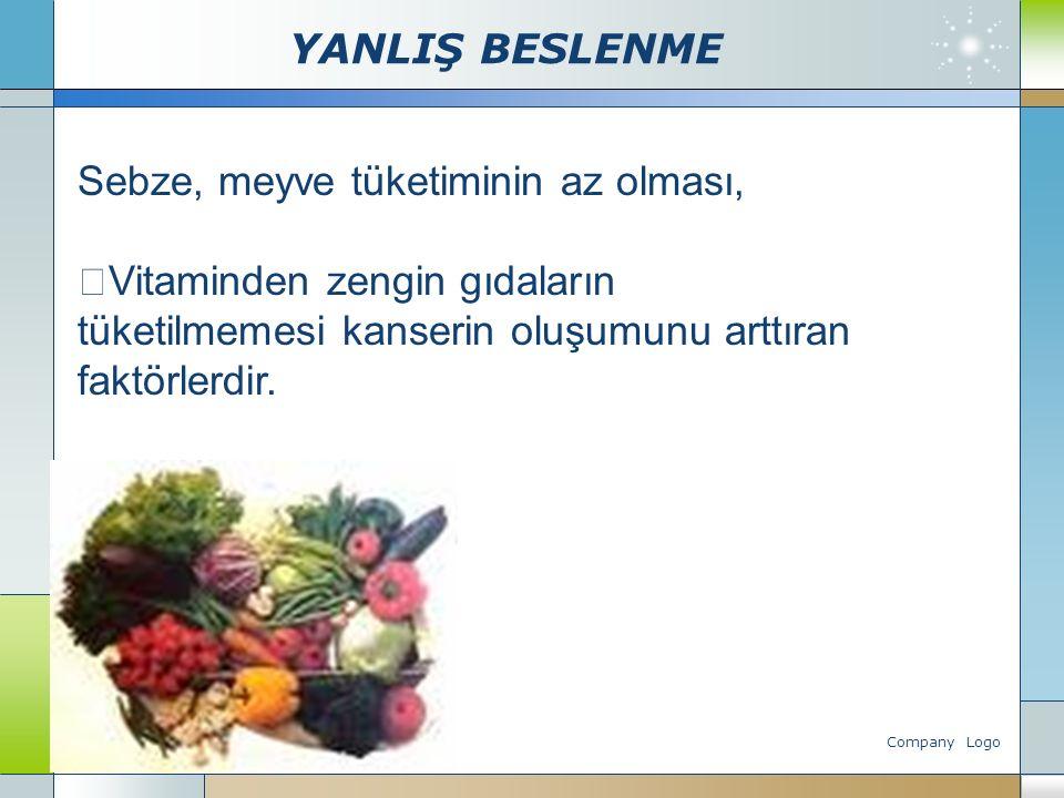Company Logo www.themegallery.com Sebze, meyve tüketiminin az olması,  Vitaminden zengin gıdaların tüketilmemesi kanserin oluşumunu arttıran faktörle