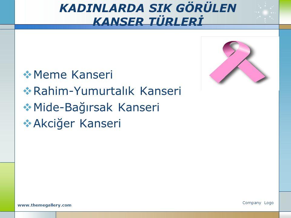 KADINLARDA SIK GÖRÜLEN KANSER TÜRLERİ  Meme Kanseri  Rahim-Yumurtalık Kanseri  Mide-Bağırsak Kanseri  Akciğer Kanseri Company Logo www.themegaller