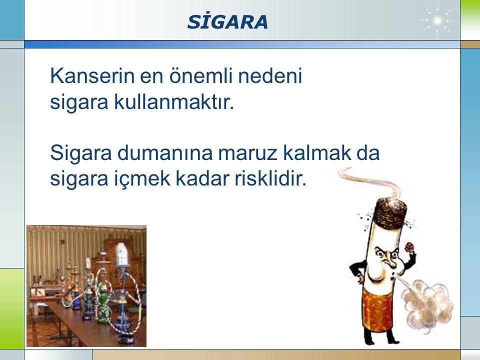 SİGARA Company Logo www.themegallery.com Kanserin en önemli nedeni sigara kullanmaktır. Sigara dumanına maruz kalmak da sigara içmek kadar risklidir.