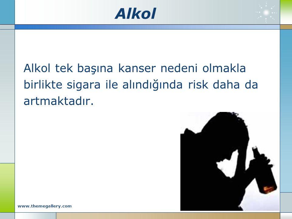 Alkol Alkol tek başına kanser nedeni olmakla birlikte sigara ile alındığında risk daha da artmaktadır. Company Logo www.themegallery.com