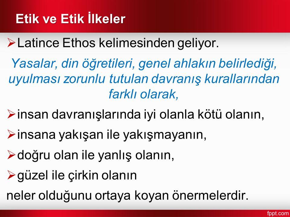 Etik ve Etik İlkeler  Latince Ethos kelimesinden geliyor.