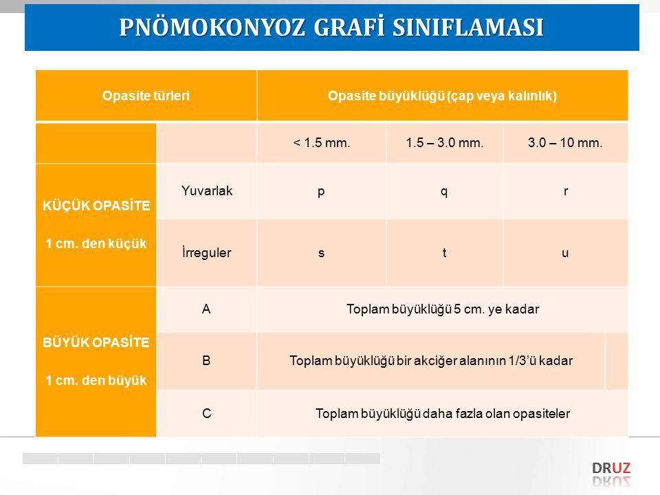 Target Opasite türleriOpasite büyüklüğü (çap veya kalınlık) < 1.5 mm.1.5 – 3.0 mm.3.0 – 10 mm. KÜÇÜK OPASİTE 1 cm. den küçük Yuvarlakpqr İrregulerstu