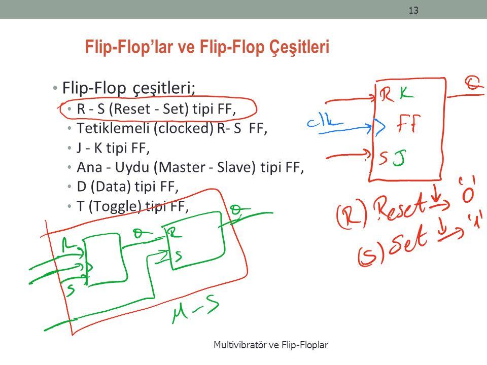 Flip-Flop'lar ve Flip-Flop Çeşitleri Flip-Flop çeşitleri; R - S (Reset - Set) tipi FF, Tetiklemeli (clocked) R- S FF, J - K tipi FF, Ana - Uydu (Master - Slave) tipi FF, D (Data) tipi FF, T (Toggle) tipi FF, Multivibratör ve Flip-Floplar 13