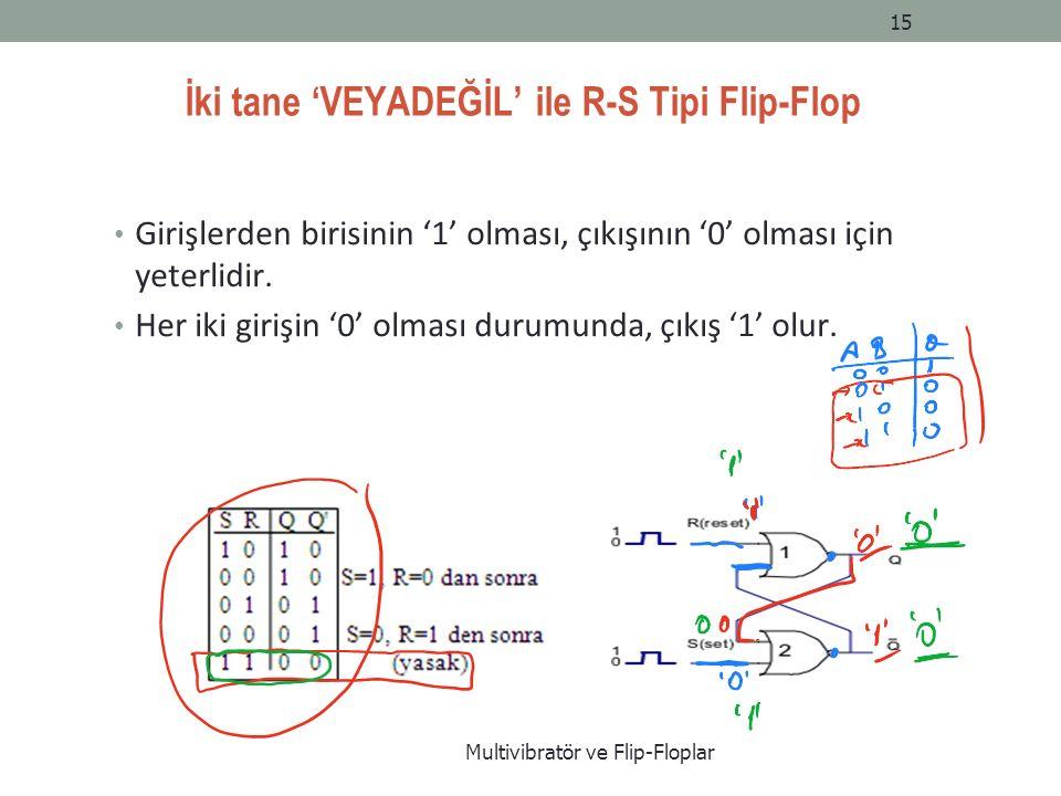 İki tane 'VEYADEĞİL' ile R-S Tipi Flip-Flop Girişlerden birisinin '1' olması, çıkışının '0' olması için yeterlidir.