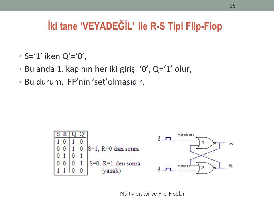 İki tane 'VEYADEĞİL' ile R-S Tipi Flip-Flop S='1' iken Q'='0', Bu anda 1.