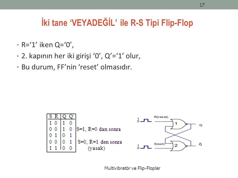 İki tane 'VEYADEĞİL' ile R-S Tipi Flip-Flop R='1' iken Q='0', 2.