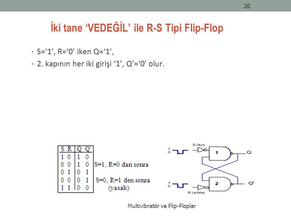 İki tane 'VEDEĞİL' ile R-S Tipi Flip-Flop S='1', R='0' iken Q='1', 2.