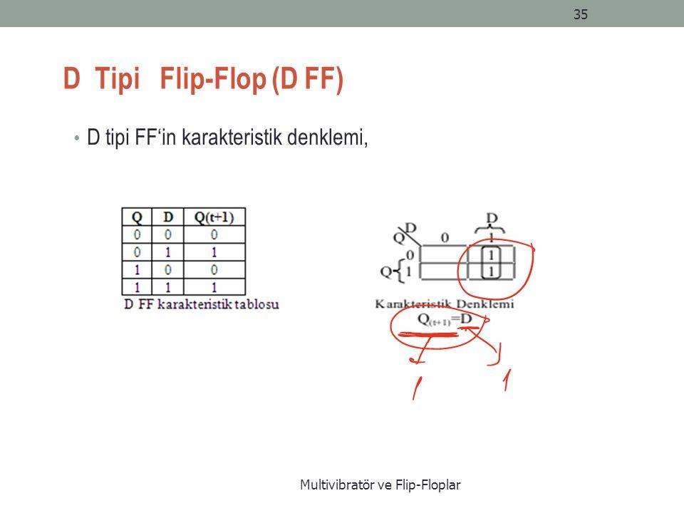 D Tipi Flip-Flop (D FF) D tipi FF'in karakteristik denklemi, Multivibratör ve Flip-Floplar 35