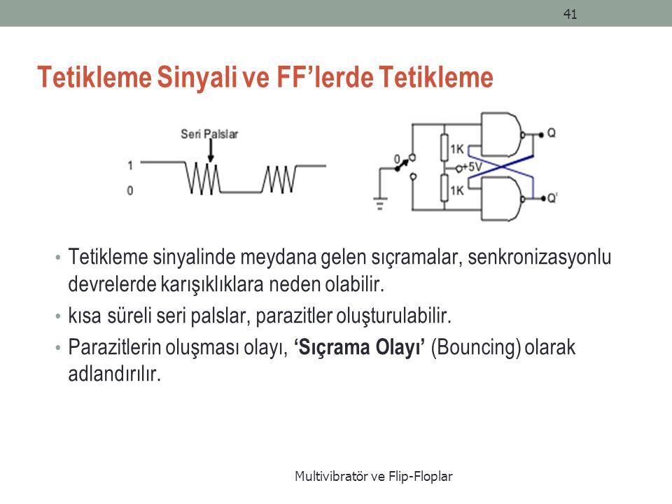 Multivibratör ve Flip-Floplar 41 Tetikleme Sinyali ve FF'lerde Tetikleme Tetikleme sinyalinde meydana gelen sıçramalar, senkronizasyonlu devrelerde karışıklıklara neden olabilir.