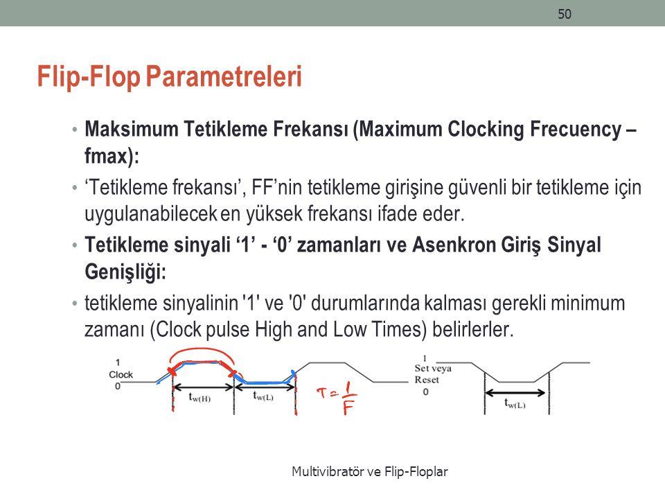 Multivibratör ve Flip-Floplar 50 Flip-Flop Parametreleri Maksimum Tetikleme Frekansı (Maximum Clocking Frecuency – fmax): 'Tetikleme frekansı', FF'nin tetikleme girişine güvenli bir tetikleme için uygulanabilecek en yüksek frekansı ifade eder.