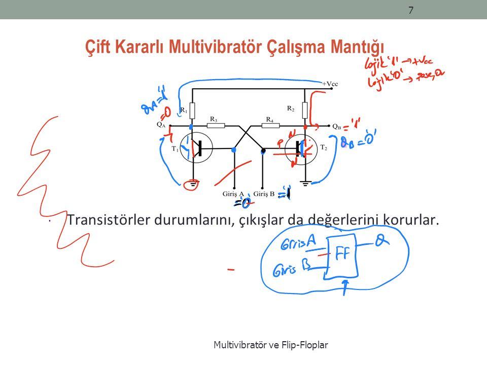 Çift Kararlı Multivibratör Çalışma Mantığı Multivibratör ve Flip-Floplar 7  Transistörler durumlarını, çıkışlar da değerlerini korurlar.