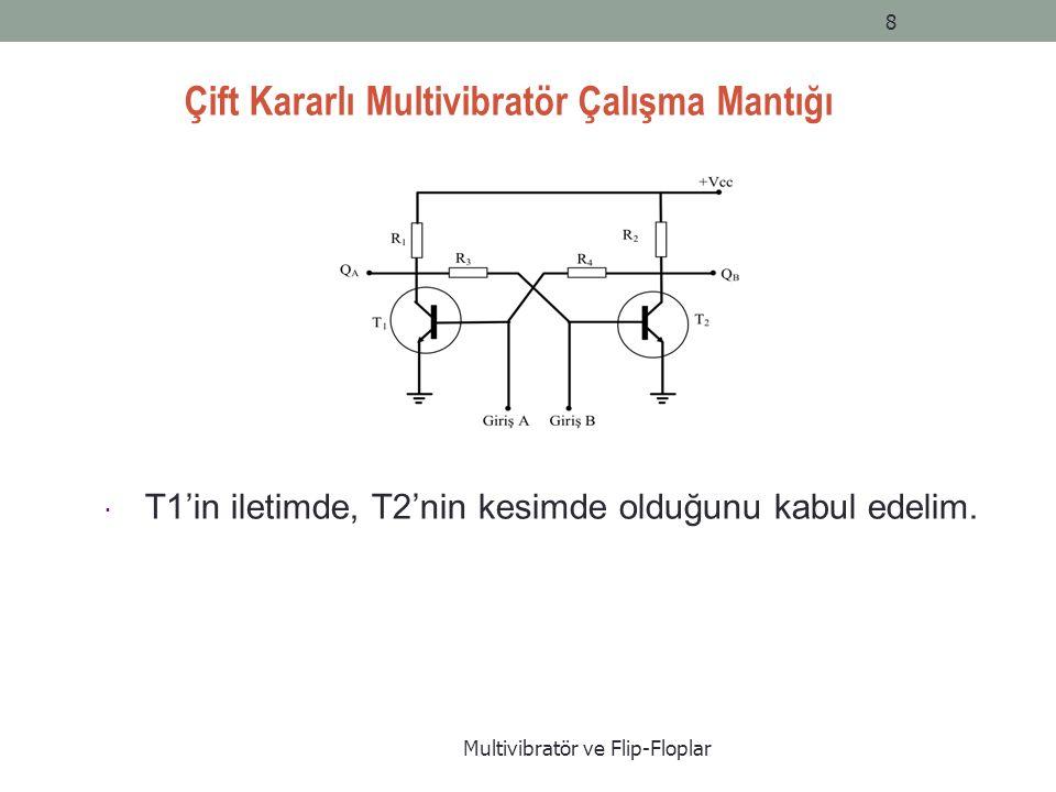 Çift Kararlı Multivibratör Çalışma Mantığı Multivibratör ve Flip-Floplar 8  T1'in iletimde, T2'nin kesimde olduğunu kabul edelim.