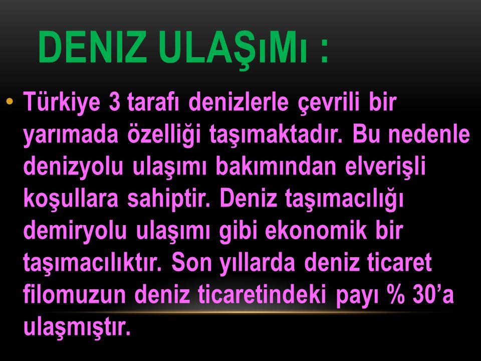 DENIZ ULAŞıMı : Türkiye 3 tarafı denizlerle çevrili bir yarımada özelliği taşımaktadır. Bu nedenle denizyolu ulaşımı bakımından elverişli koşullara sa