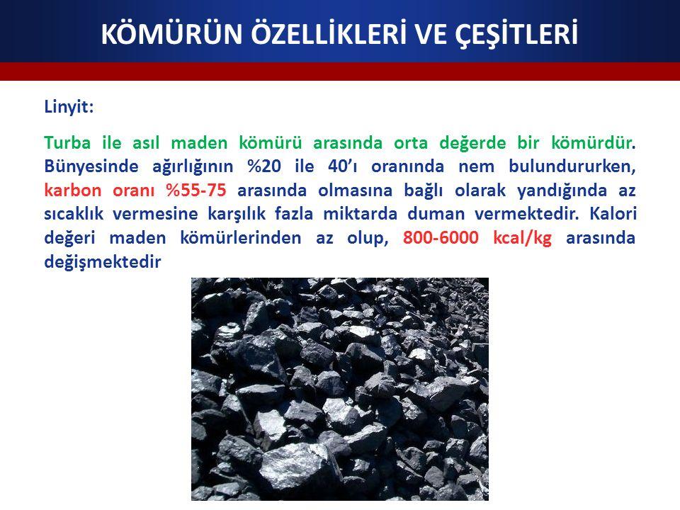 KÖMÜRÜN ÖZELLİKLERİ VE ÇEŞİTLERİ Linyit: Turba ile asıl maden kömürü arasında orta değerde bir kömürdür. Bünyesinde ağırlığının %20 ile 40'ı oranında