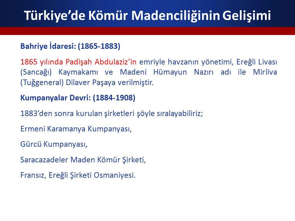 Türkiye'de Kömür Madenciliğinin Gelişimi Meşrutiyet Devri: (1908-1914) Havzanın, Ticaret ve Ziraat Nezaretine bağlanması ve Maden Müdürlüğü kurularak Hüseyin Fehmi İmer'in tayini, Rus Harici Ticaret Bankası Müdürlerinden Laskadiris ve Raskalizof tarafından Maadin Osmanlı Anonim Şirketi kurulması ile Çaydamar ve Karıncadere ocaklarının satın alınması, Kozlu kömür madeninin İtalyan ve Yunan sermayesi ile işletilmesi bu devrin belli başlı gelişmeleridir.