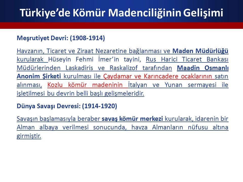 Türkiye'de Kömür Madenciliğinin Gelişimi Milli Hükümet ve Cumhuriyet Dönemi (Himayeci Dönem): (1920-1925) Kurtuluş Savaşı başlarken yabancıların işletmesinde bulunan maden imtiyazlarının dağılımına bakıldığında; Doğu Anadolu Bölgesine (Van, Diyarbakır) sadece 3 imtiyaz verilmişken, tüm Anadolu'ya 272'ye yakın imtiyaz verilmiştir.