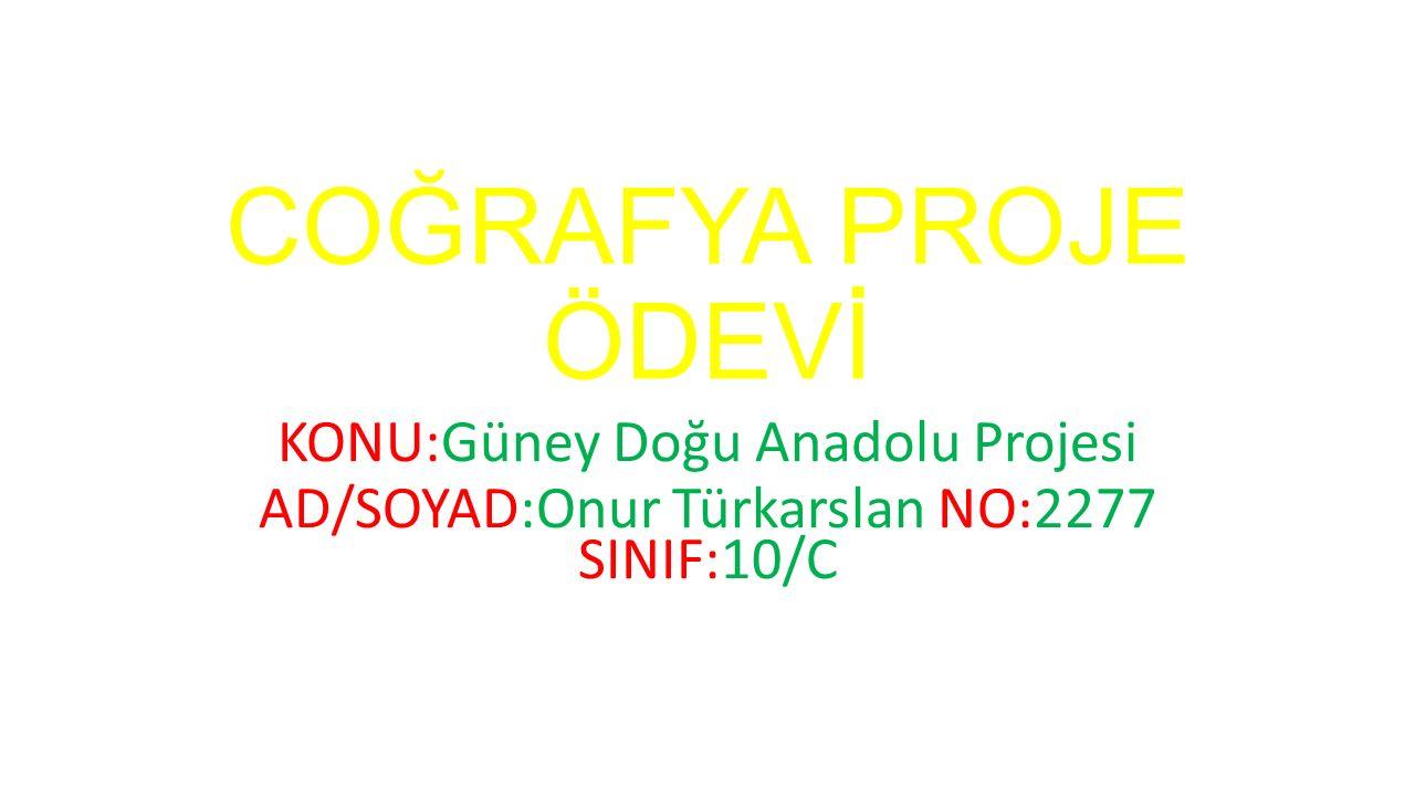 COĞRAFYA PROJE ÖDEVİ KONU:Güney Doğu Anadolu Projesi AD/SOYAD:Onur Türkarslan NO:2277 SINIF:10/C