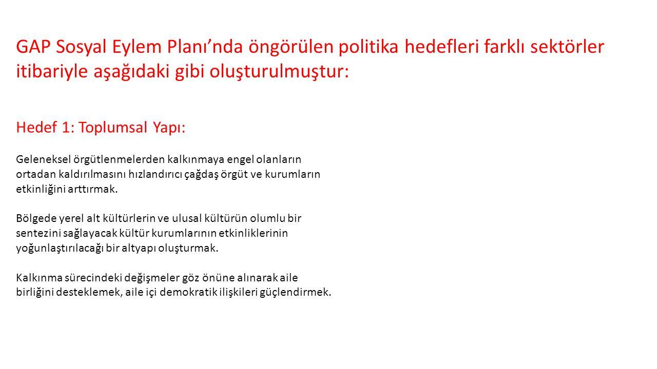GAP Sosyal Eylem Planı'nda öngörülen politika hedefleri farklı sektörler itibariyle aşağıdaki gibi oluşturulmuştur: Hedef 1: Toplumsal Yapı: Gelenekse