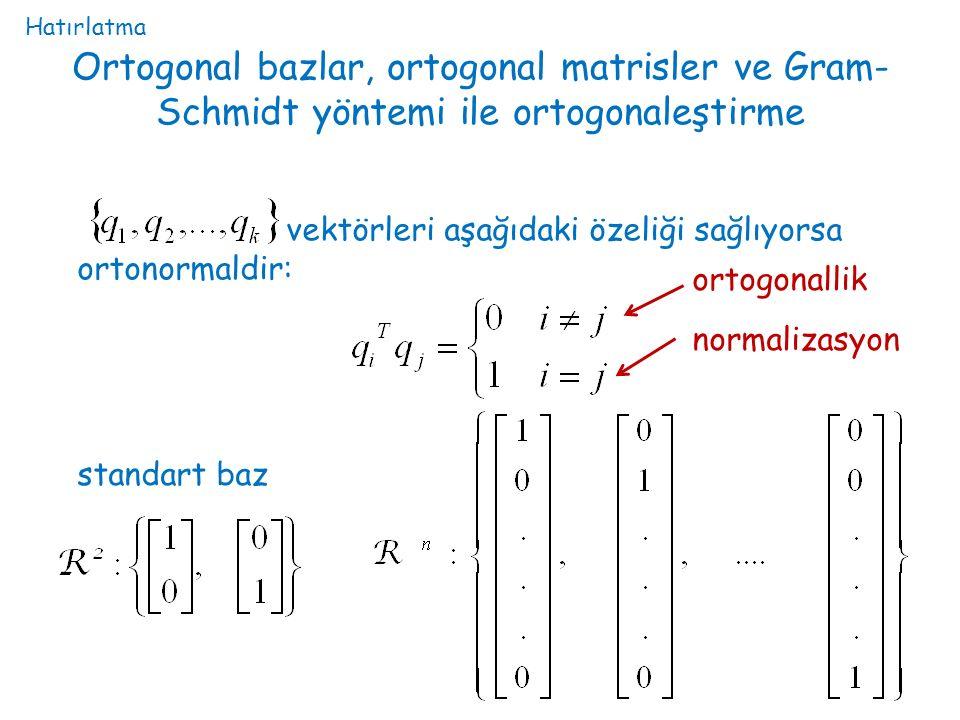 Ortogonal bazlar, ortogonal matrisler ve Gram- Schmidt yöntemi ile ortogonaleştirme vektörleri aşağıdaki özeliği sağlıyorsa ortonormaldir: ortogonalli