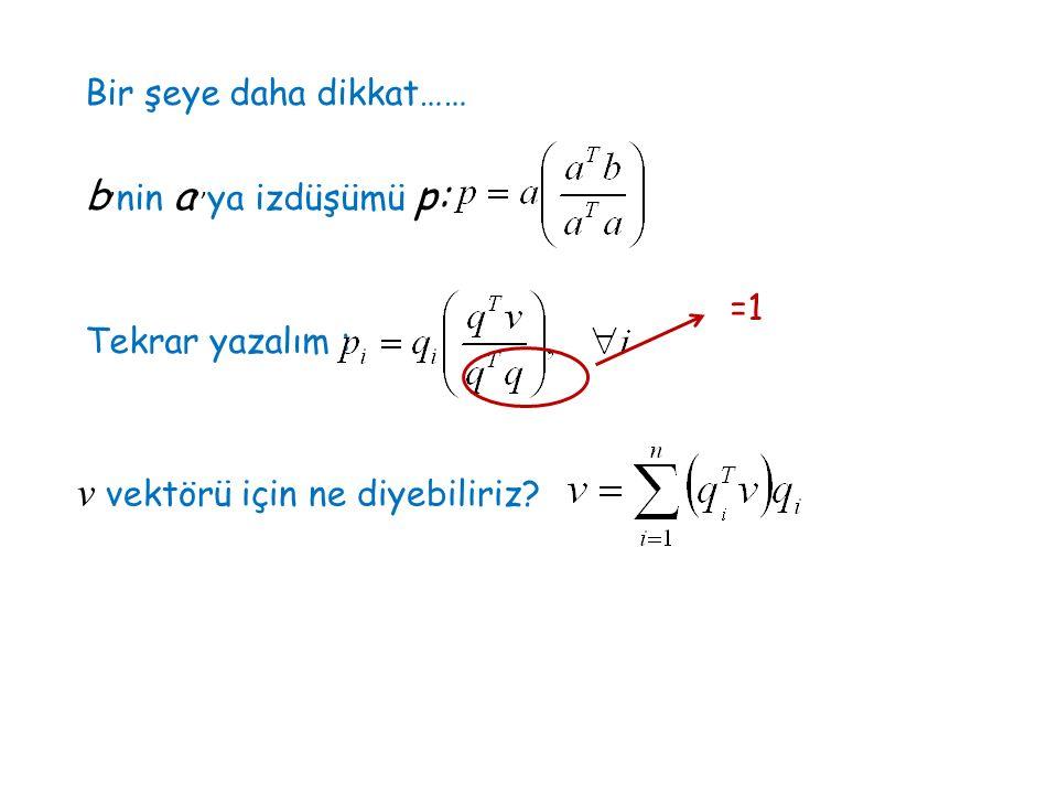 Bir şeye daha dikkat…… b ' nin a '' ya izdüşümü p: Tekrar yazalım : =1 v vektörü için ne diyebiliriz?