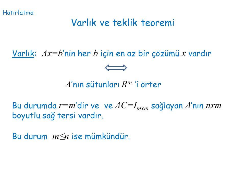 Varlık ve teklik teoremi Varlık: Ax=b 'nin her b için en az bir çözümü x vardır A 'nın sütunları R m 'i örter Bu durumda r=m 'dir ve ve AC=I mxm sağla