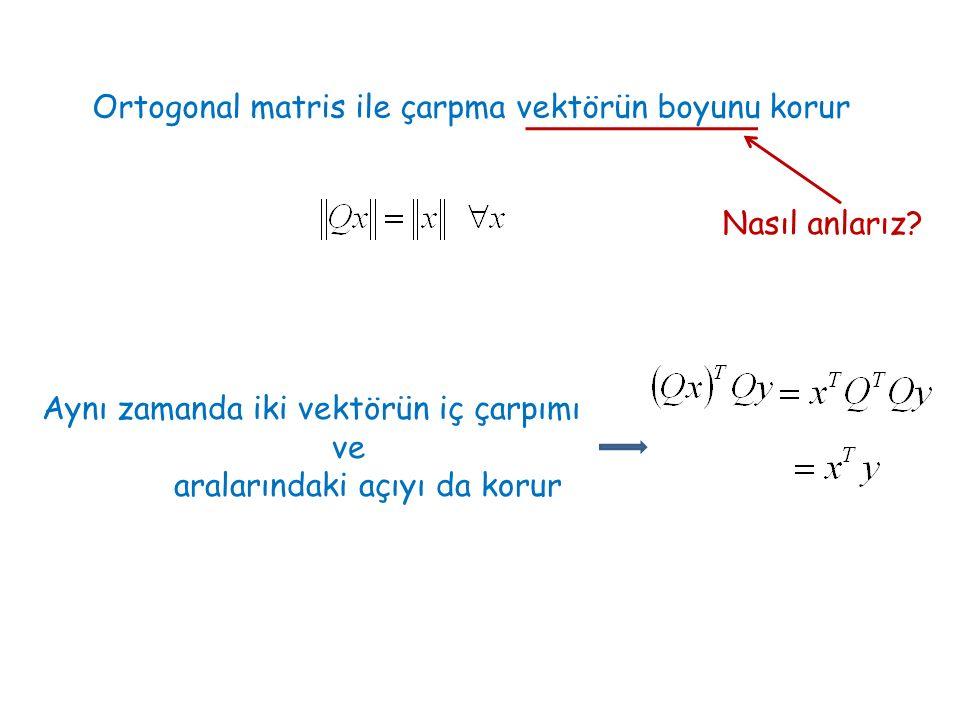 Ortogonal matris ile çarpma vektörün boyunu korur Nasıl anlarız? Aynı zamanda iki vektörün iç çarpımı ve aralarındaki açıyı da korur