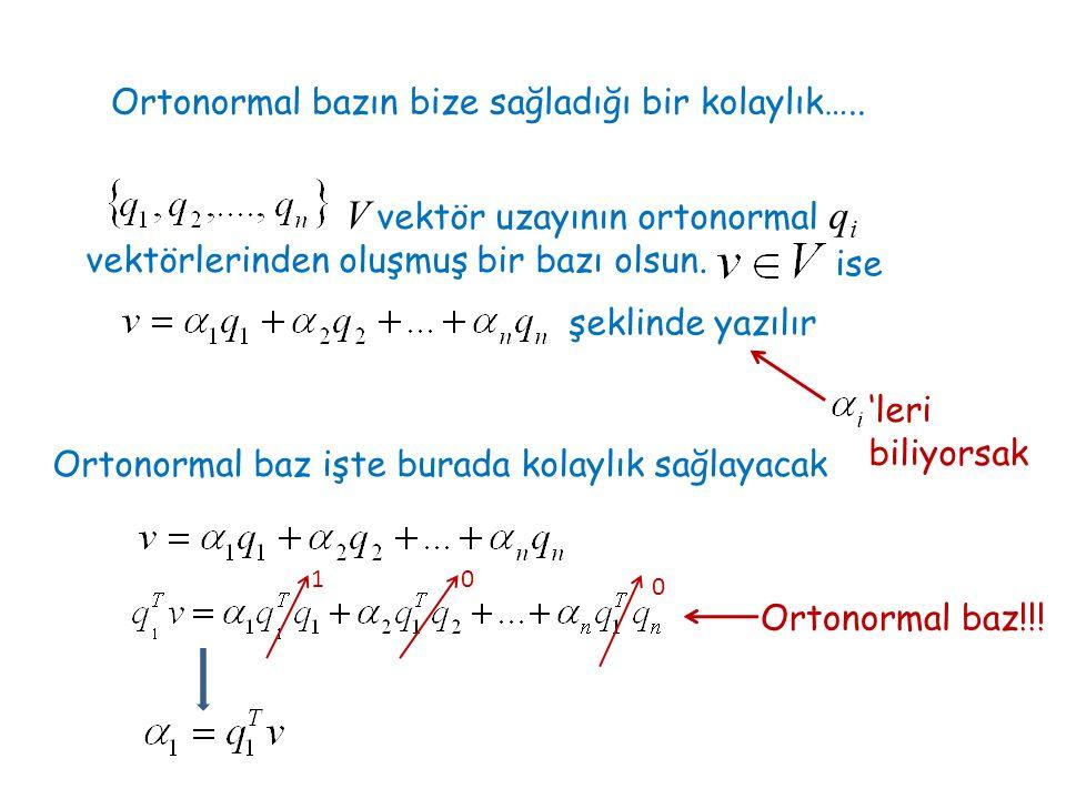 Ortonormal bazın bize sağladığı bir kolaylık….. V vektör uzayının ortonormal q i vektörlerinden oluşmuş bir bazı olsun. ise şeklinde yazılır 'leri bil