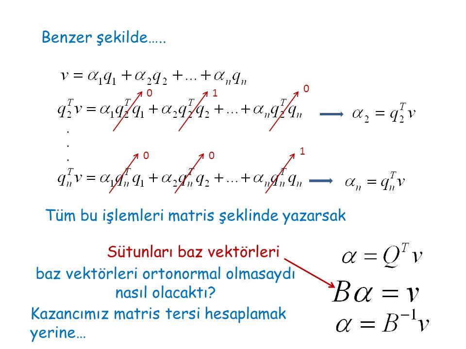 Benzer şekilde….. 01 0 00 1 Tüm bu işlemleri matris şeklinde yazarsak...... baz vektörleri ortonormal olmasaydı nasıl olacaktı? Sütunları baz vektörle