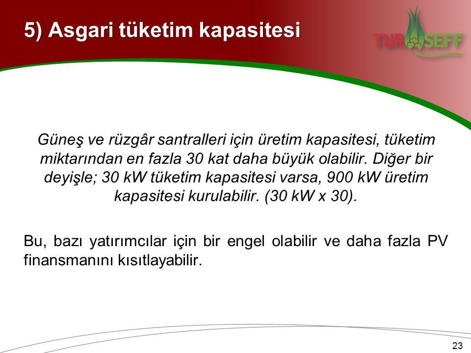 5) Asgari tüketim kapasitesi Güneş ve rüzgâr santralleri için üretim kapasitesi, tüketim miktarından en fazla 30 kat daha büyük olabilir.